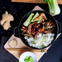 Endlich richtig Essen: Mongolische Gemüsepfanne mit Rindfleisch