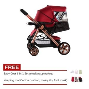 Angel Baby Two-way Four-wheel Folding Aluminum Alloy Baby Stroller (Red/Black) with Free Baby Care 6 in 1 Set