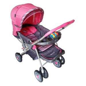Baby 1st Stroller reversible handle and full recline w/ food trayand toy S034EB (Pink)