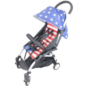 Babytime Portable Pushchair Stroller American Flag Design (Blue