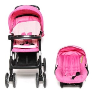 Happy Dino Heavy Duty Travel Strollers with Carrier 2-piece Set(Pink)