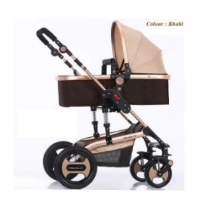 YIBAOLAI 3 in 1 Fold baby stroller luxury baby jogger pram withshock proof Famous Brand from China-khaki - intl