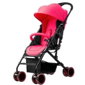 Baby Two-way Four-wheel Folding Aluminum Alloy Baby Stroller (Red/Black)