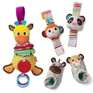 Infantino See Play Go Toy Bundle Foot And Wrist Rattles- Musical Giraffe
