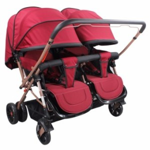 Unicorn Selected Mosquito Net Double Twin baby stroller (Red)