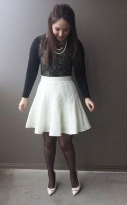 white skirt black top2