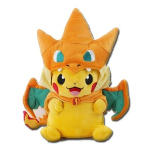pikachu wears charizard as a hat pokemon plush toy