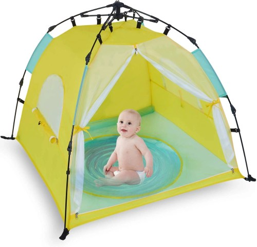 bend river automatic instant baby tent with pool isolated on white background
