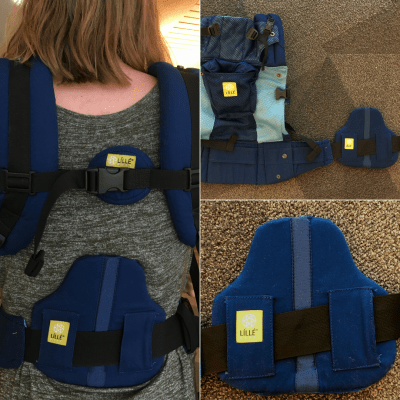 Three image collage of a navy blue soft structured carrier that has a removable lumbar support panel. Left image is the back of a caregiver wearing a demonstration doll in front. The support panel supports her lower back. Top image is of the carrier laid out on the floor with the lumbar support panel to the side looped through the waistband webbing. Bottom right image is a close-up of the lumbar support panel.