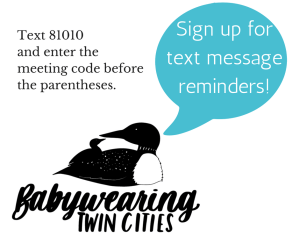 "Image of a black and white babywearing pair of loons with a teal text bubble ""Sign up for text message reminders!"" Black text above loons ""Text 81010 and enter the meeting code before the parentheses:"""