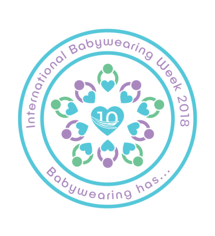 "Image of a middle heart in turquoise with number 10 on a sling. Outside the heart 10 people (5 in green and 5 in purple) are holding smaller turquoise hearts. A turquoise circle is around this image surrounded by a larger one and in the middle of both circle written in purple ""International Babywearing Week 2018"" on top and below ""Babywearing has..."""