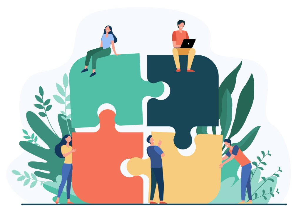 Business team putting together jigsaw puzzle isolated flat vector illustration. Cartoon partners working in connection. Teamwork, partnership and cooperation concept