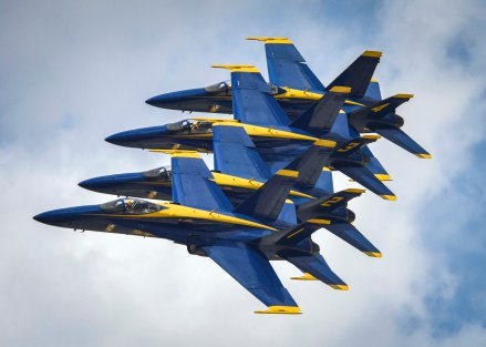 170423-N-KE519-043 BELLE CHASSE, La. (April 22, 2017) The U.S. Navy flight demonstration team, the Blue Angels, fly in formation over Naval Air Station Joint Reserve Base (NAS JRB) during the New Orleans Air Show 2017. NAS JRB New Orleans hosted its first air show since 2011. (U.S. Navy photo by Mass Communication Specialist 2nd Class Edward Guttierrez III/Released)