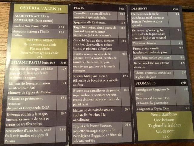 menu Osteria Valenti