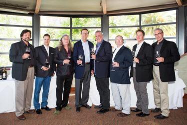 (L-R) Ed Sbragia (Founder, President & Winemaster, Sbragia/Consulting Winemaker, Madrigal Family Winery), Peter Kaufman (Co-Founder/Managing Partner, Bacchus Capital), Chris Upchurch (Executive Winemaker/Vineyard Manager, Owner/Partner, DeLille Cellars), Sam Bronfman (Co-Founder/Managing Partner, Bacchus Capital), Bob Lindquist (Founder/Owner/Winemaker, Qupe), Henry Owsley (Co-Founder/Managing Partner, Bacchus Capital), Joe Dobbes (Winemaker/President, Wine By Joe & Dobbes Family Estate), Tony Rynders (Consulting Winemaker, Panther Creek Cellars)