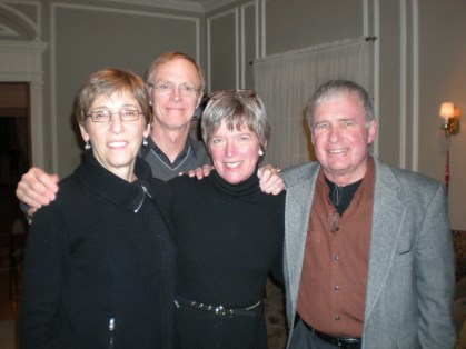Norma Sober, Norman Gilliland, Daphne Webb, board members, and party goer Harry Miles