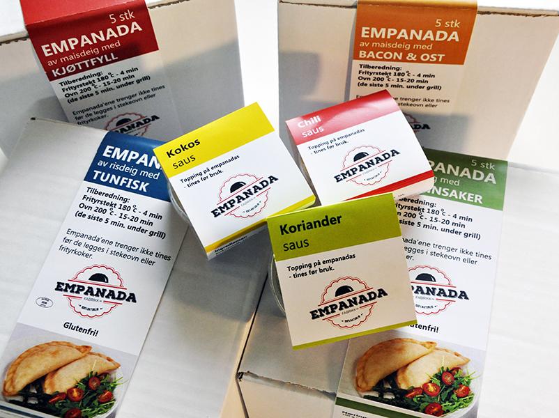 Emballasje til empanada og sause / Packages to empanadas and sauces