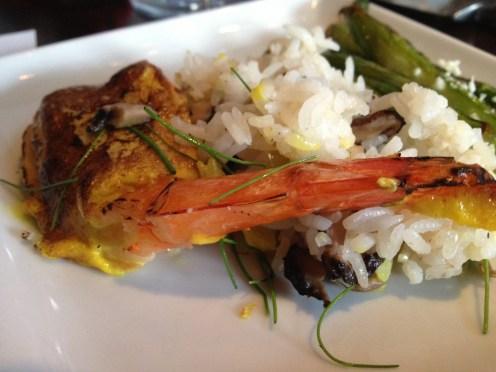 Egg battered shrimp with mushroom rice.