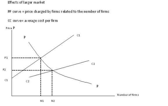 graph shows how economies of scale come from two markets joining to make one larger market
