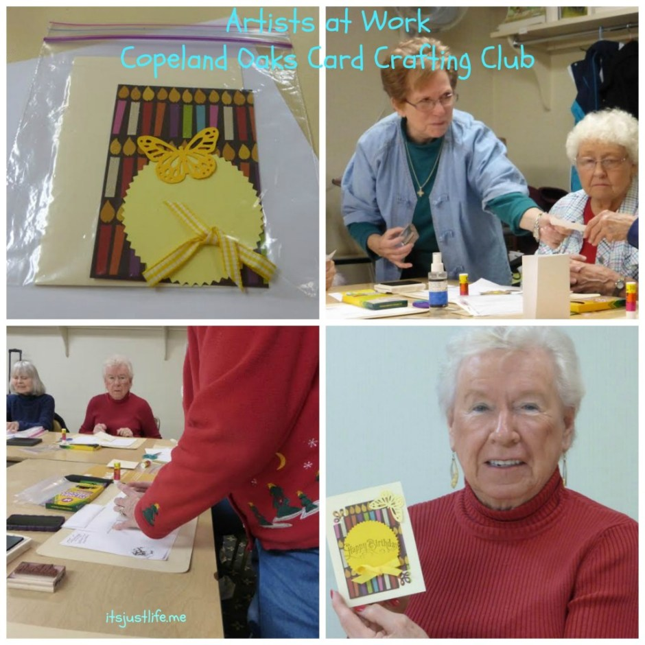 Copeland Oak ladies crafting cards for residents.