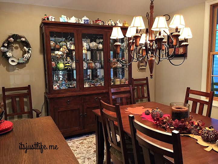 A tiny look in at the china hutch in the dining room.