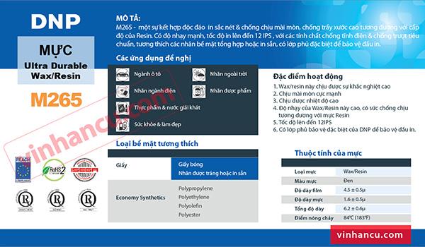 Mực Wax Resin DNP M265 chính hãng, Mực in mã vạch giá rẻ, ribbon mã vạch chính hãng, ribbon mã vạch Wax resin, mực in wax resin chính hãng