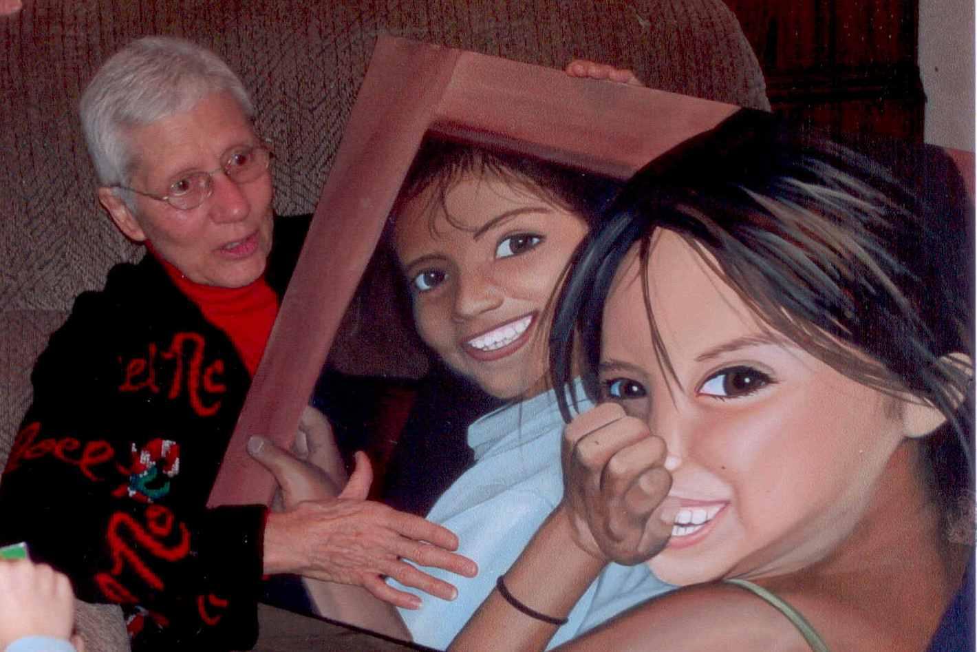 Barbara with the Painting of Carolina & Lupita
