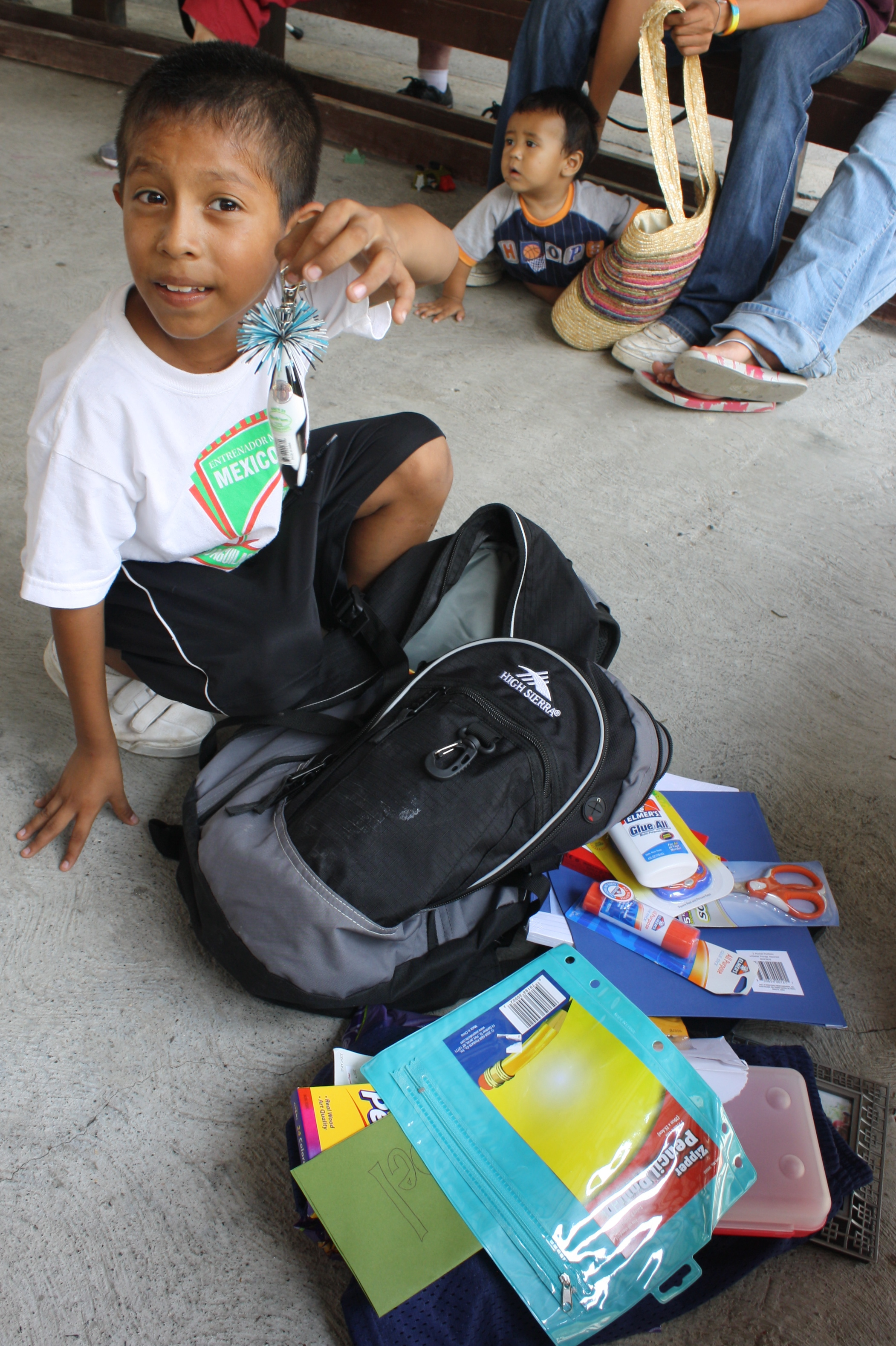 Joel was excited to discover that his backpack was filled with school supplies that he needed