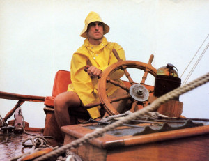 Battling twenty-foot-high waves, Narahari dasa steers the Sri Jaladuta II on the eighteen-day voyage from the California coast to Hawaii.