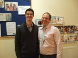 Mykel Mason and James Revell Doctors of Chiropractic with their Movember moustaches at Lushington Chiropractic