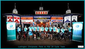 The Lushington Chiropractic Paris to Eastbourne Pier 24 hour cycle team