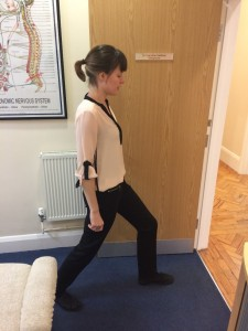 Picture shows chiropractor Victoria White doing the hip flexor stretch