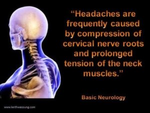 "Image shows the brain lit up like a lightbulb with the words ""Headaches are frequently caused by compression of cervical nerve roots and prolonged tension of the neck muscles"". This accompanies the blog by Eastbourne Chiropractor Vicky White on Chiropractic Treatment for Neck Pain and Headaches."