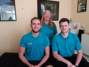 Image shows Sue, Oly and Ryan, part of the Lushington Chiropractic Massage Team