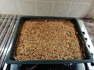 The picture shows finished granola in a pan