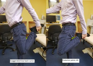 The picture demonstrates a man pulling his heel to his buttock whilst standing. One with an exaggerated lower back curve and one without.