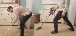 A picture of man demonstrating how to vacuum by taking long strides out and bending his front knee, also shown is a poor posture with rounding of the back to accompany the blog written by Eastbourne Chiropractor Mykel Mason