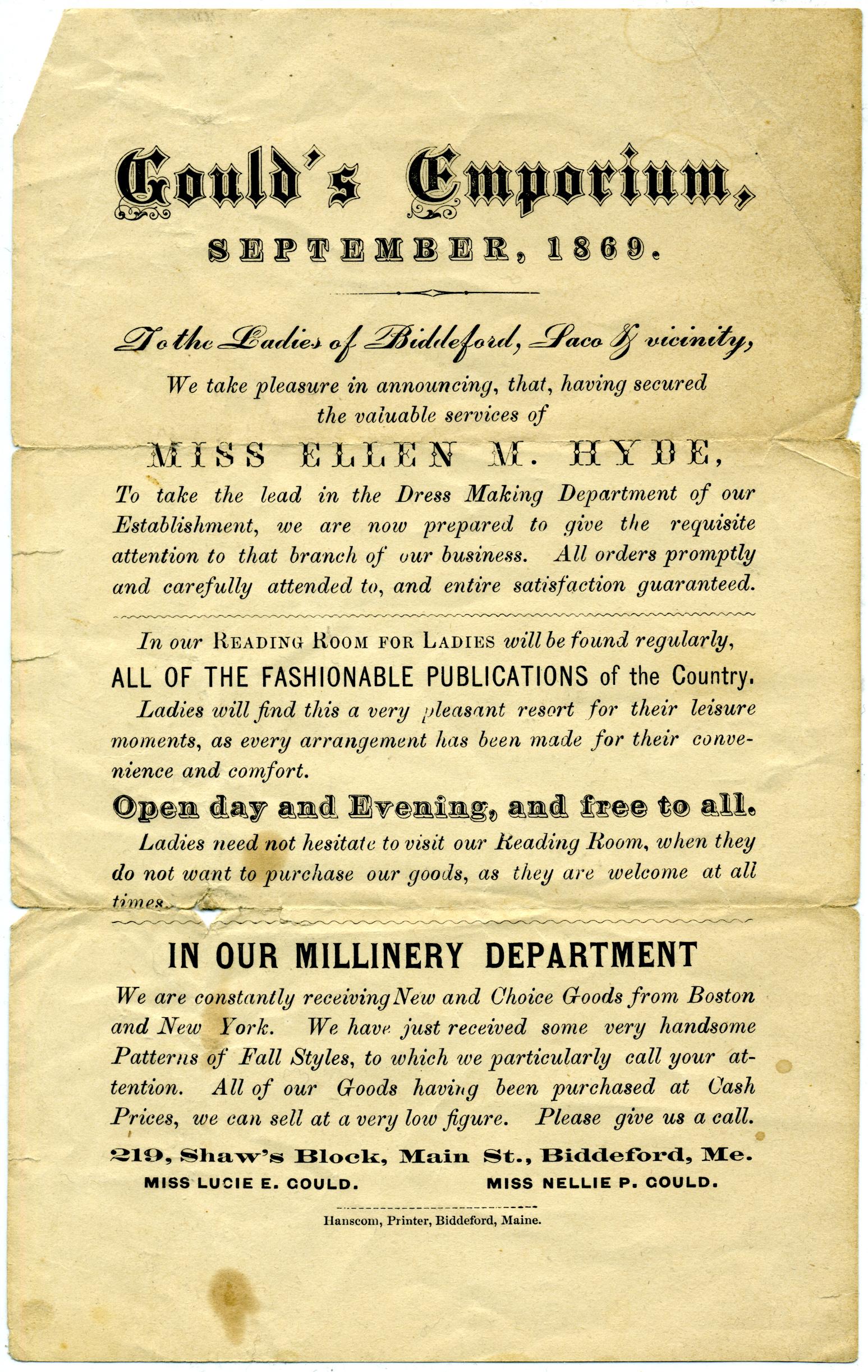 Gould's Emporium advertisement