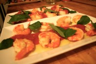 Prawns and strawberry puree