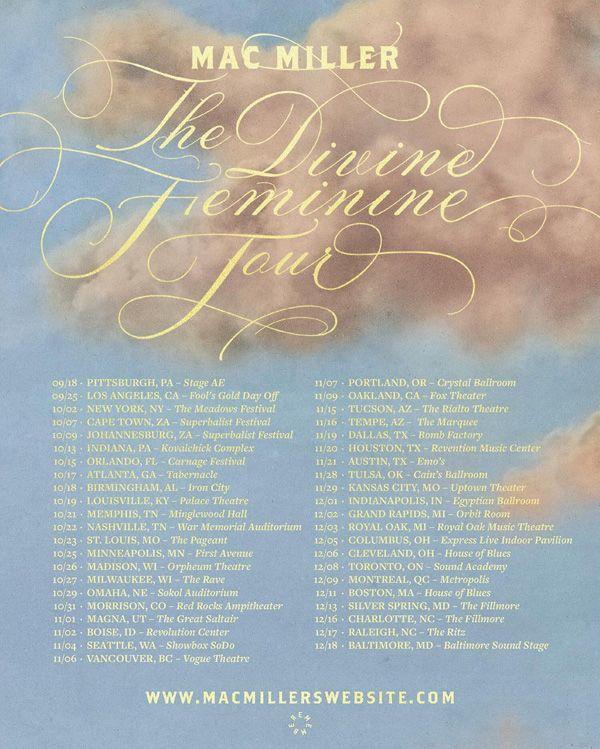 MAC MILLER THE DEVINE FEMININE TOUR DATES , The Devine Feminine Tour , Mac Miller The Devine Feminine Tour , The divine Feminine tour mac miller , Mac Miller , The Devine Feminine Tour Dates