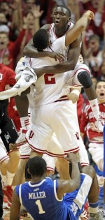 BLOOMINGTON, IN - DECEMBER 10: Christian Watford #9 and Victor Oladipo #1 of the Indiana Hoosiers celebrate after Watford made a buzzer beating 3 point shot to beat the Kentucky Wildcats 73-72 in the game at Assembly Hall on December 10, 2011 in Bloomington, Indiana. (Photo by Andy Lyons/Getty Images)