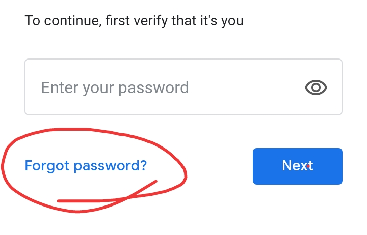 Click on forget password to change gmail password in mobile