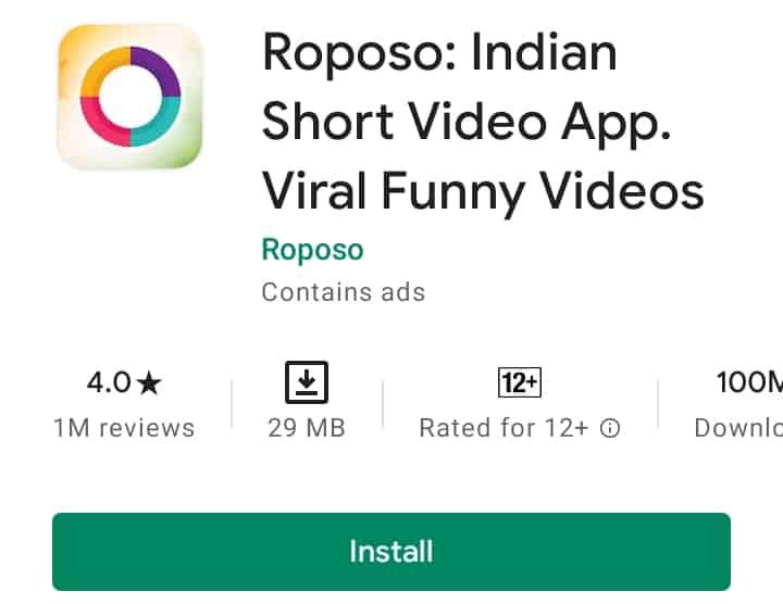 Roposo indisn short video app