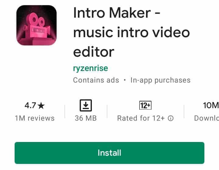 Intro maker app - music intro video editor