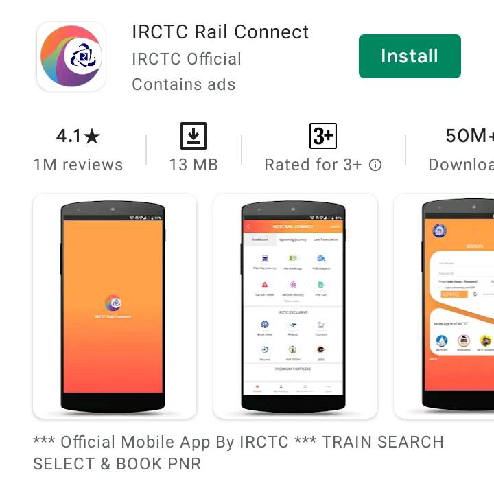 irctc train ticket booking App for india
