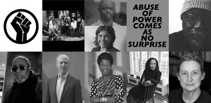 Em sentido horário, a partir do topo, à esquerda: Black Lives Matter, ruangrupa, Felwine Sarr & Bénédicte Savoy, #MeToo, Fred Moten, Judith Butler, Saidiya Hartman, Thelma Golden, Glenn D. Lowry, Arthur Jafa