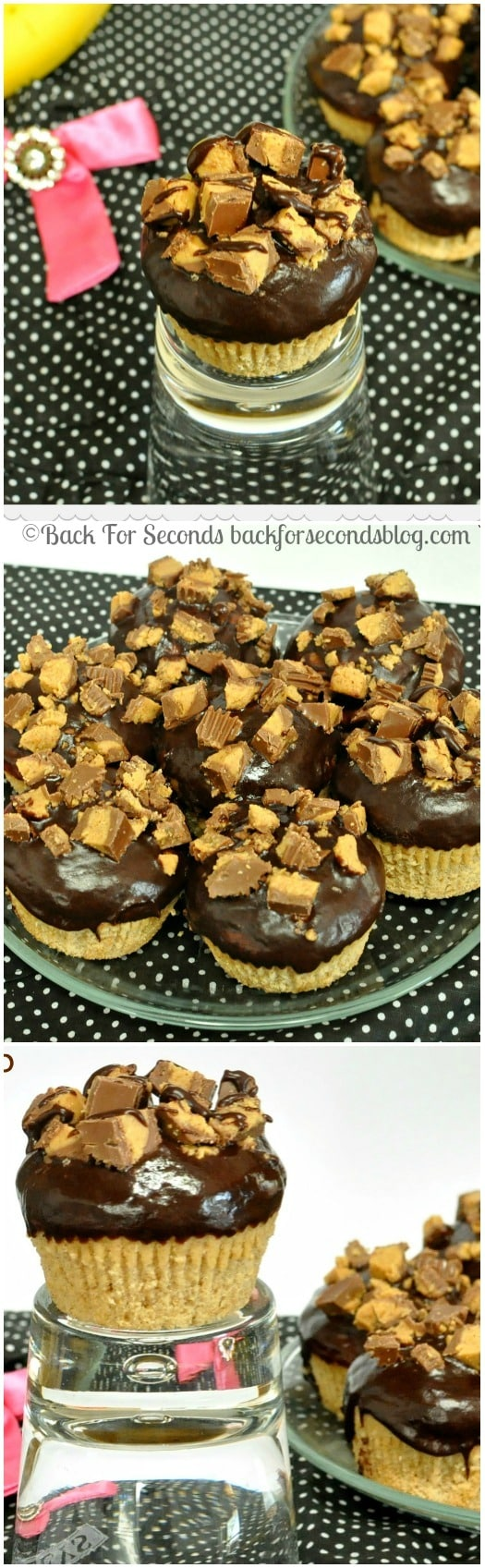 Ganache Topped Peanut Butter Banana Muffins  https://backforseconds.com  #muffins #breakfast #cupcake #peanutbutter #chocolate #reeses