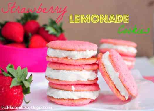 Strawberry Lemonade Cookies #whoopiepie #cookiesandwich #frosting #lemonade #pink #strawberry