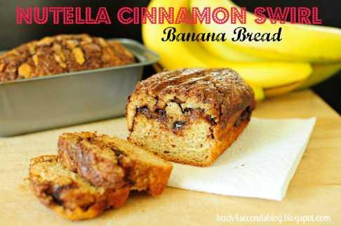 Skinny Nutella Cinnamon Banana Swirl Bread @BackForSeconds #nutella #bread #banana https://backforseconds.com