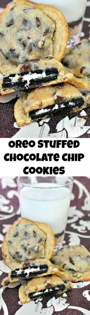 Oreo Stuffed Chocolate Chip Cookies Collage